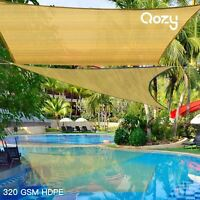 Qozy SUPER Extra Heavy Duty Sun Shade Sail 320gsm Square Rectangle Triangle Sand