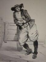 Victor COÏNDRE RARE Litho COSTUME HOMME de QUIMPER FINISTERE BRETAGNE 1850