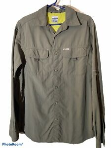 Columbia Titanium Khaki Men's Sports Outdoor Shirt Size Large Long Sleeve