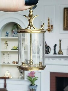 Dollhouse Miniature Artisan Alec Rothwell Cylindrical Glass Hanging Light 1:12