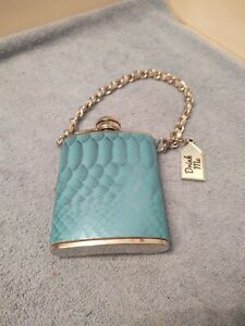 """3 oz Stainless Steel Silver Aqua Turquoise Colored Flask  """"Drink Me""""  W"""