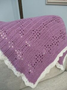 "NEW Baby Blanket Purple Handmade Crochet 43"" x 35"" Throw Crib born butterfly"