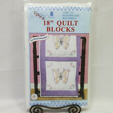"""JDNA Butterfly 18"""" Quilt Blocks Hand Embroidery Crafts Blanket Purple"""