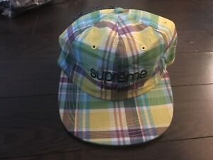 Supreme Madras Classic Logo 6-panel Hat Cap SS15 Yellow