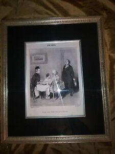 Honore Daumier Les Ami Lithograph 1853 Initials in Plate