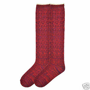 K.Bell Petite Lace Top Red Knee High Acrylic Polyester Blend Socks Ladies New