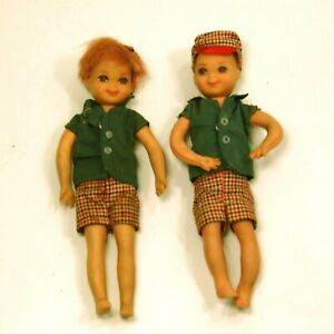 2 VINTAGE MATTEL BARBIE TUTTI'S BROTHER TODD DOLLs IN PLAID OUTFIT W/ HATs 1965