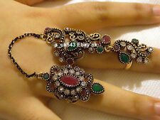 Bohemian Jewellery,Ethnic Rings,Two finger Ruby rings,Antique style gypsy gothic