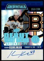 2019-20 Credentials Debut Ticket Access Auto #RTAA-KA Karson Kuhlman RC /299