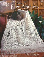 Filet Afghans Crochet Instruction Patterns American School of Needlework NEW