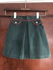 Vintage Buster Brown Girls Green Corduroy Skirt with Red Piping Size 6X/7