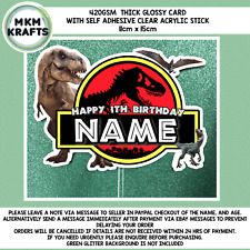 Jurassic park T.rex inspired Birthday cake card topper personalised Fast Service