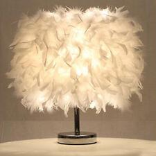 Feather Shade Table Lamp Metal Vintage Elegant Bedside Desk Decor Night - Light