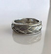 Judith Ripka Sterling Thumb Ring Basket Weave Braided Wedding Band 11.5