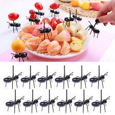 12Pcs Creative Plastic Ants Picks Stick Fruit Cupcake Food Birthday Party Sticks