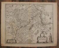 """Orig. Kupferstichkarte """"Archiepiscopatus Trevirensis"""" um 1650 Deutschland sf"""