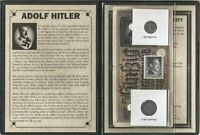 Hitler Third Reich  2 Coins, 2 Banknotes,1 Stamp,WWII ,Album,Story, Certificate