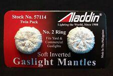 ALADDIN LAMP Part # 57114 GAS LIGHT MANTLES SOFT INVERTED 2-PACK #2 CERAMIC RING