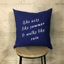 "Train-Drops of Jupiter Lyrics Marina Blue & White Cushion 16"""