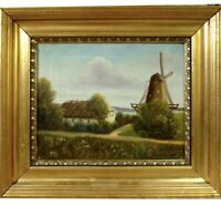 Danish Windmill Landscape Vintage Oil Painting