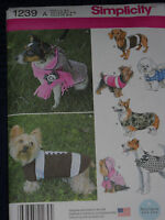 Dog Coats in 3 sizes and Scarf Football Costume Simplicity 1239 Sewing Pattern