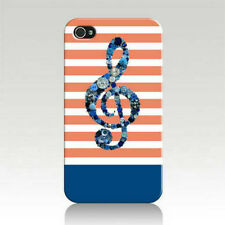 Button Art Music Treble Clef on Orange White Stripes Printed iPhone 4 4s Case