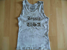 Jessie USA Cool batik top with studs and diamante grey size M New (CN 514)