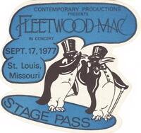FLEETWOOD MAC 1977 RUMOURS TOUR ST. LOUIS STAGE PASS / STEVIE NICKS / NMT 2 MINT