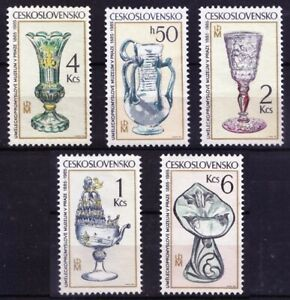 Czechoslovakia 1985 MNH 5v No Gum, Glass Antique Pieces, Vase, Art Work