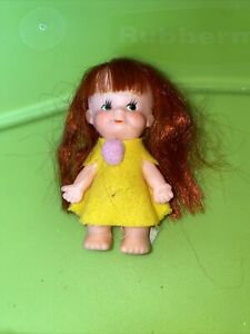 """3.5"""" Red Head Plastic Doll Vintage Made In Japan"""