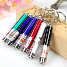 1x Mini 2in1 Red Laser Torch Flashlight LED Light Torch Keychain Key Ring Toys