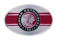"""INDIAN MOTORCYCLE MENS BLACK SILVER RED ICON HEADDRESS LOGO IMC BELT BUCKLE 3.6"""""""