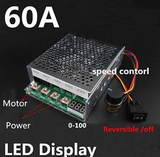 60A DC12v/24v/36v/48v Variable Speed Motor Controller Reversible Control W/ LED