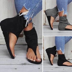 Women's Casual Beach Sandals Back Zip Flats Shoes Thong Flip Flops Shoes Outdoor