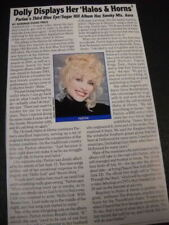 DOLLY PARTON Displays Halos & Horns detailed 2002 music biz promo article/pic