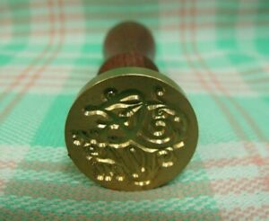"""Vtg Style Brass & Wood """"For You"""" Sealing Wax Stamp Seal"""