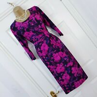 Precis Ladies Floral Print Dress Occasion Ruched Black Purple 12 Wedding Party