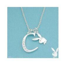 NEW Playboy Necklace Silver Pendant Chain Bunny Charm Swarovski Crystal Letter C