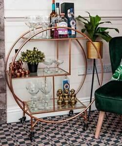 Large Drinks Trolley Home Bar Cart Drink Display Art Deco Metallic Rose Gold