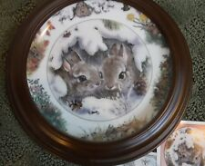 """December Cuddle"" Backyard Buddies Plate, The Crestley Collection rabbit bunny"