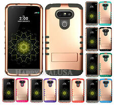 KoolKase Hybrid Soft Silicone Hard Cover Case for LG G5 - Rose Gold (P)
