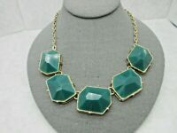 """Vintage Statement Necklace Gold Tone Square Dark Green Beads Figure 8 Chain 20"""""""