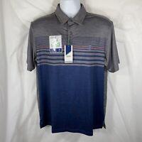 Izod SwingFlex Mens Medium Gray & Blue Stripes Golf Polo Shirt NWT