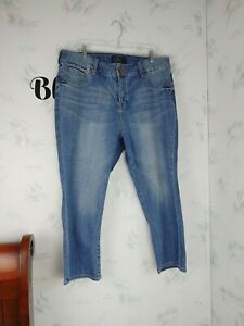 Lucky Brand Emma Crop Jeans High Waisted Womens Size 18W Double Button Blue