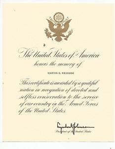 1964 LYNDON JOHNSON STAMP SIGNED DOC -HONORS THE MEMORY W/ ENVELOPE MAILED TO VA