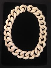 AMPCP Lucite Cream Chain Link Thick Necklace Choker Rare Vintage Retro VGC