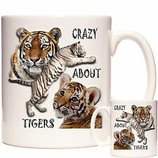 TIGER MUG. CRAZY ABOUT TIGERS Mug Tiger Gift Matching Coaster Available