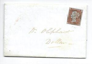 QV 1843 Penny Red 3m cover Superb Scottish maltese cross c£220