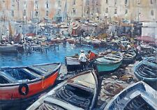 "Ciro Canzanella (Napoli 1948) ""Porto Marina "" OIL ON CANVAS"