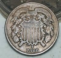 1868 Two Cent Piece 2C Higher Grade Civil War Era Good US Copper Coin CC5888